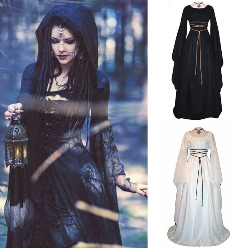Medieval Cosplay Dress Women Lace Up Long Sleeve Party Dress  Solid Vintage Renaissance Retro  D90907