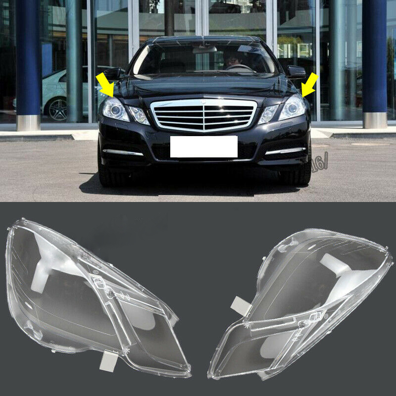 For Mercedes-Benz W212 2009-2014 E200 E260 Car Front Headlights Transparent Shell Lamp Masks Headlights Glass Mask Lamp Cover