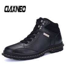 CLAXNEO Men Winter Shoes Genuine Leather Casual Boots Male Handmade Snow Shoe Plush Fur Warm clax Boot Big Size