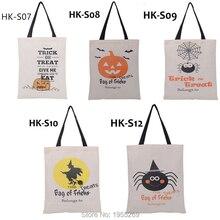 21 stks/partij 5 Soorten Halloween Gift Bag Zakken Canvas Katoenen Tassen met Handvatten Kinderen Snoep Grote Zak Party Pompoen nieuwe Jaar