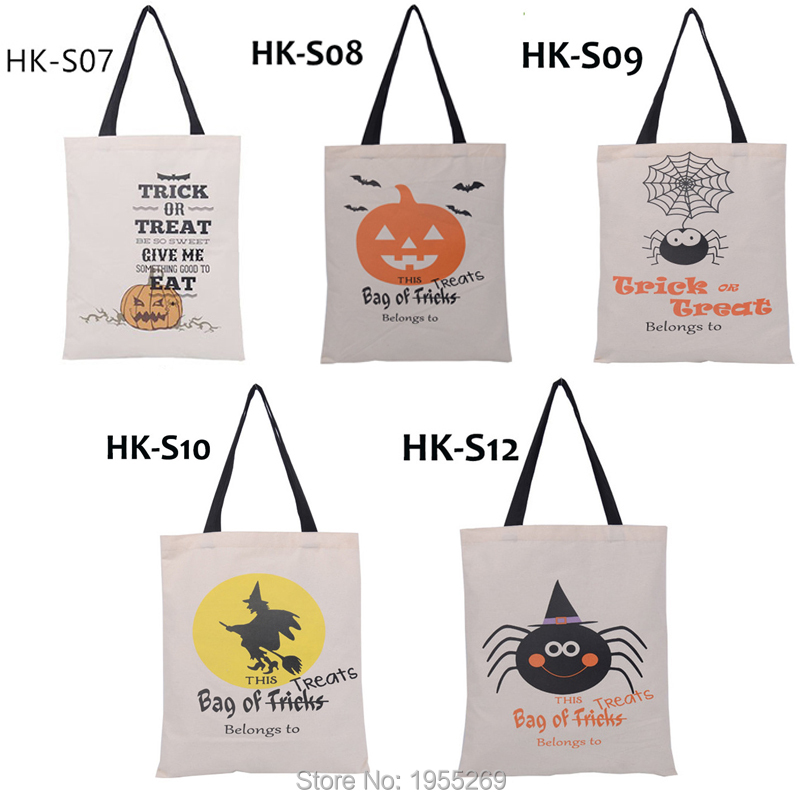 21pcs/lot 5 Types Halloween Gift Bag Sacks Canvas Cotton Tote Bags with Handles Children Candy Large Bag Party Pumpkin New Year-in Stockings & Gift Holders from Home & Garden