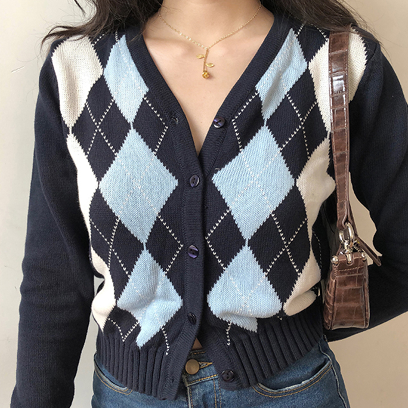 Vintage V Neck Plaid Long Sleeve Women Sweater 2020 Autumn Winter Short Knitted Cardigan Sweaters Womes England Style Tops