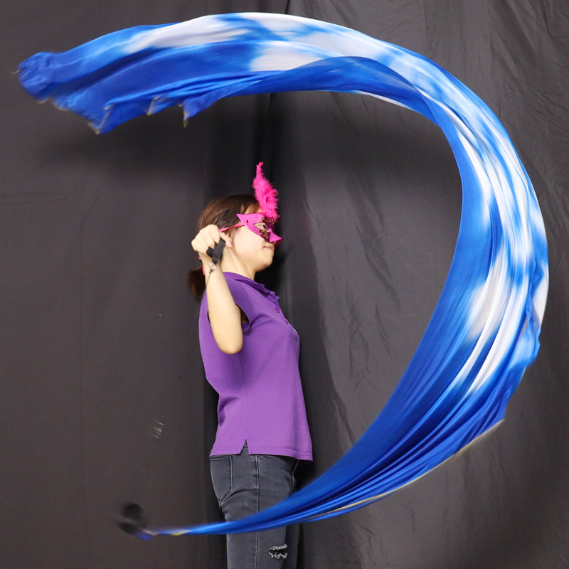 Real Silk Veil POI Streamer Thrown Balls Belly Dancer Stage Performance Props Bellydance Costume Accessory POI Ball 200x90cm