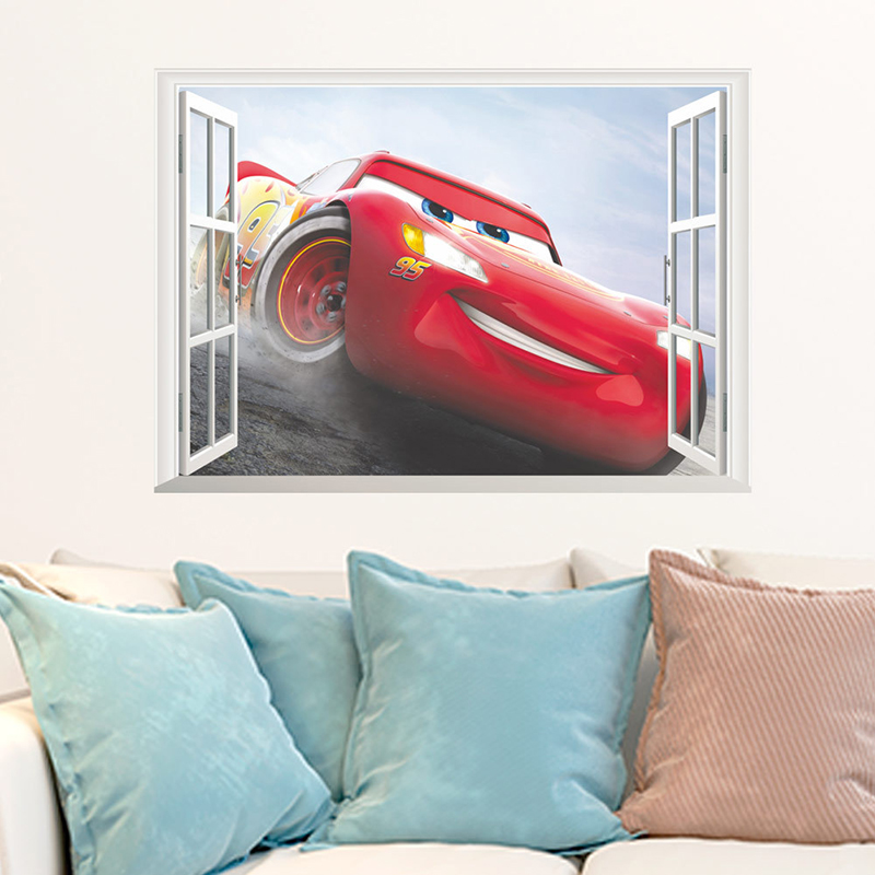 <font><b>3d</b></font> Effect Disney <font><b>Cars</b></font> Wall Stickers For kids Rooms Home Decor Cartoon Wall Decals Pvc Mural Diy Posters Removeable Stickers image
