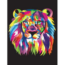 Abstract Animal Lion Head Canvas Painting Digital Acrylic Hand Painted Canvas Oil Paintings Wall Pictures for Living Room
