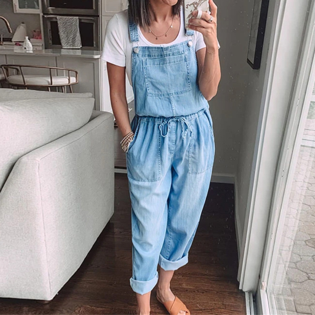 Women Blue Denim Overalls Jumpsuit Rompers Belted Hole Hollow Out Pocket Women Casual Fashion Female Pants 2020 New #T4G