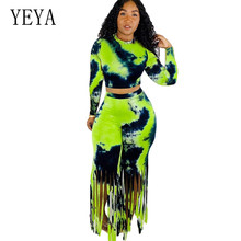 YEYA Casual Vintage Two Pieces Sets Long Sleeve O-neck Crop Top and Tassel Pants Elegant Women Autumn Bodycon Bandage Jumpsuits