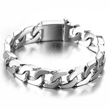 12mm Cool 316L Stainless Steel Silver Brushed Cuban Curb Chain Mens Male Bangle Fashion Bracelet Wristband 8.66 Wholesale Hot