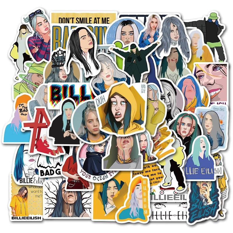 Купить с кэшбэком 50pcs Waterproof Billie Eilish Cartoon Girl Stickers Skateboard Guitar Suitcase Freezer Graffiti Sticker Kids Classic Toy