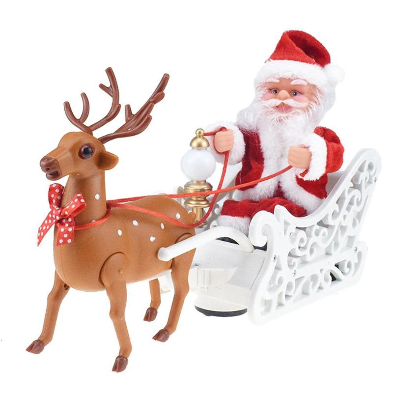 Christmas Electronic Music Doll Toys Plastic Santa Claus Elk Sleigh New Year Table Ornament Festival Party Children Gift