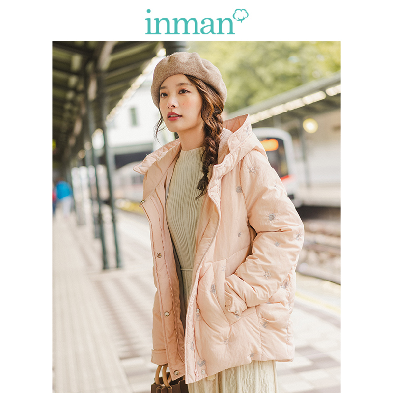 INMAN Spring Autumn Winter Casual Hooded Contrast Embroidery Fashion Warm Women Short Down Coat