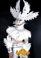 White feather angel Male god goddess costume Senior luxury mysterious Boy Man costumes Halloween party cosplay dance suit