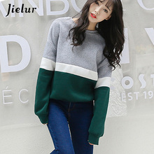 Jielur Autumn New Harajuku Women Hoodies Spell Color Pullover Fleece Loose Female Tracksuits Casual Round Neck Sweatshirt 2XL