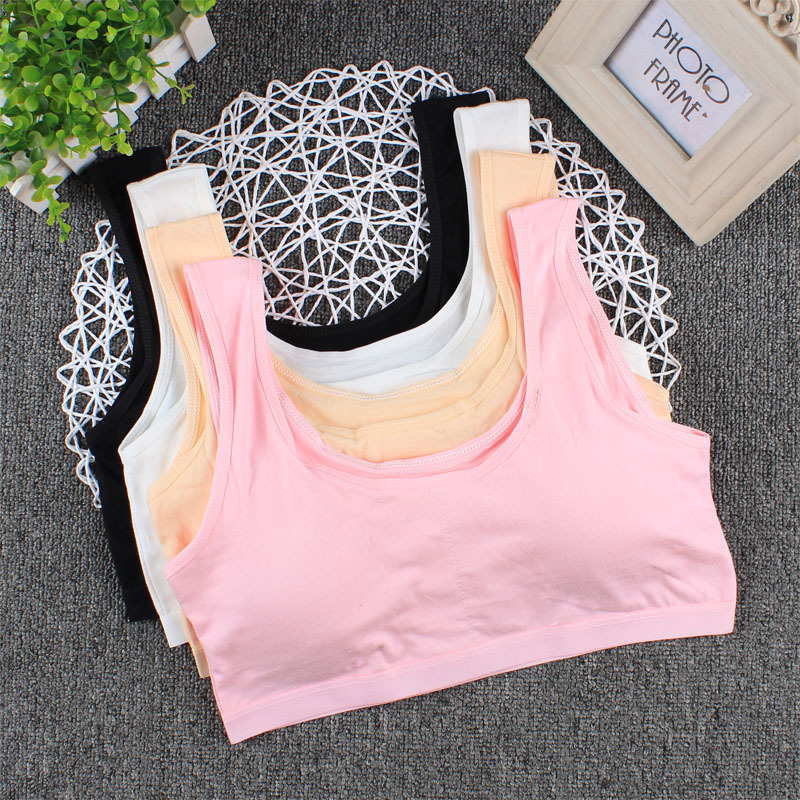 Cute Bra Underwear For Girls Large Size Student Development Bra Cotton Detachable Sponge Pad Girl Sports Tube Top