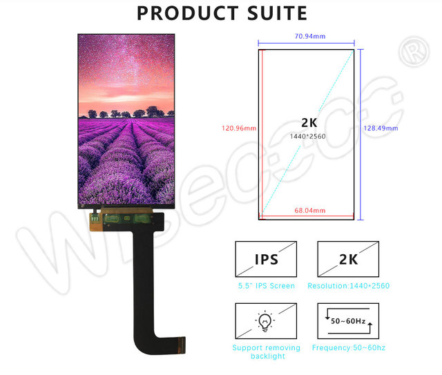 Per KLD-1260 3D Stampante schermo LCD da 5.5 pollici 2K 1440*2560 del Pannello LCD display LS055R1SX03