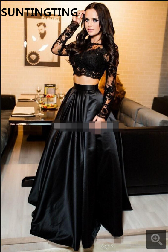 New Arrival 2020 Black Lace Two Piece Prom Dress A Line Evening Gowns Long Sleeve Appliques Sexy Long Formal Prom Gowns