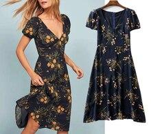 england style vintage floral print v-neck beach dress women vestidos de fiesta noche sexy maxi