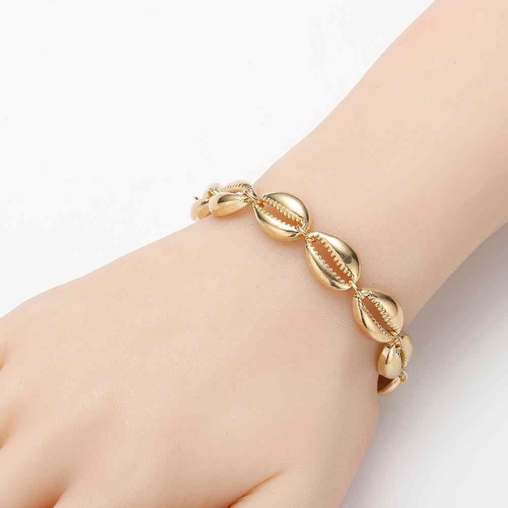 CHENGXUN hecho a mano Natural de concha de mar pulseras de conchas accesorios de moda para mujer pulsera de hilo con cuentas regalo