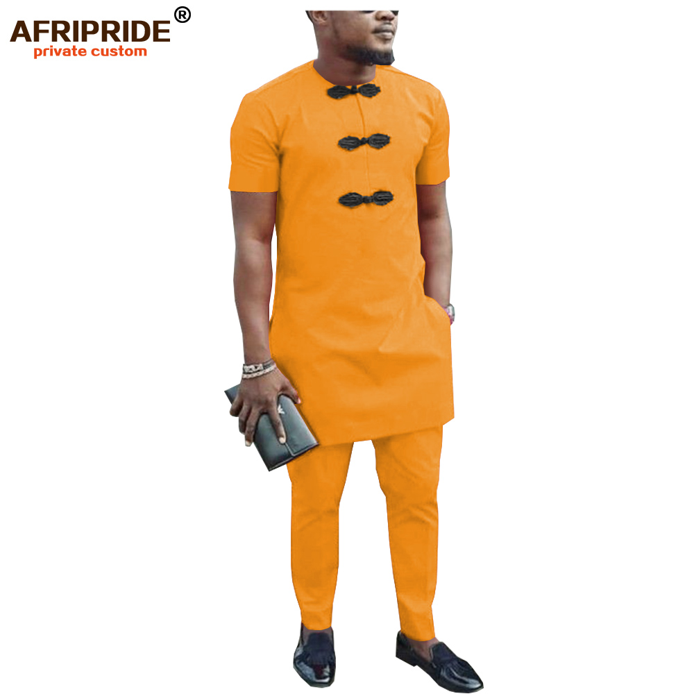African Men Shirt Suit Dashiki Blouse Shirts+ Ankara Pants Set Tracksuit Pocket Outfit Slim Fit Formal Wear AFRIPRIDE A1916047