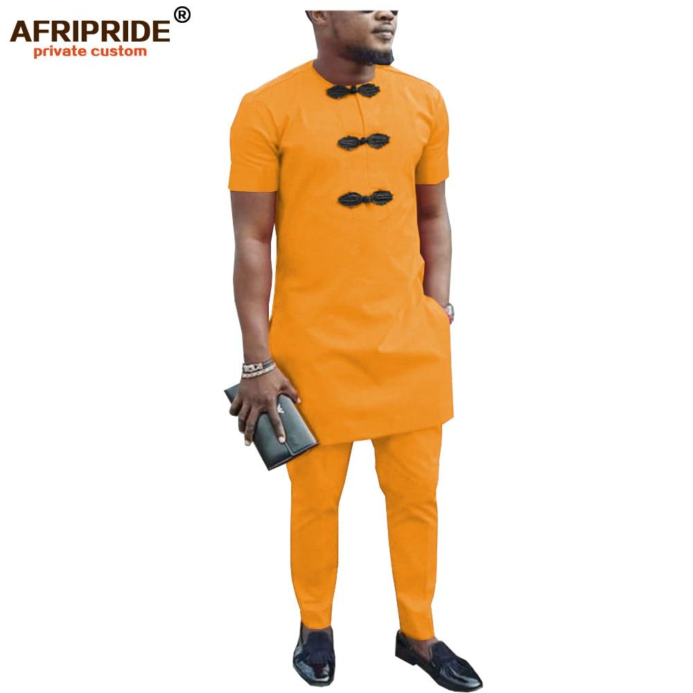 African Men Shirt Suit Dashiki Blouse Shirts+ Ankara Pants Set Tracksuit Pocket Outfit Slim Fit Formal Wear AFRIPRIDE A1916047