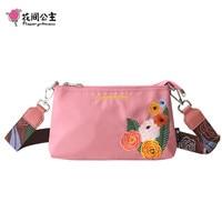 Flower Princess Flower Embroidery Women Crossbody Bags Nylon Shoulder Bag School Teenage Girls Travel Handbag Bolsa Feminina