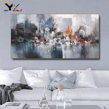 Edifício da cidade chuva barco cartaz cenário imagens sala decoração abstrata pintura a óleo na lona arte da parede para sala de estar