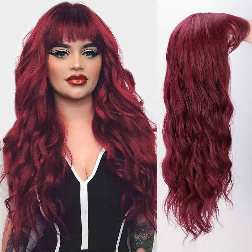 I's a wig Synthetic Wigs Water Wave Long Red Cosplay Wig with Bangs for Women Pink Brown Black Heat Resistant False Hair