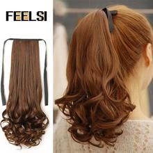 FEELSI, 22 дюйма, длинные вьющиеся волосы на заколках, хвост, накладные волосы, конский хвост, шиньон с заколками, синтетические волосы, хвост пони, наращивание волос