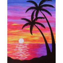 Diamond Mosaic Full 5D Drill Cross Stitch Red Coconut Tree by the Beach Kits Art Embroidery Home Decor Kits Art art blakey art blakey the jazz messengers mosaic