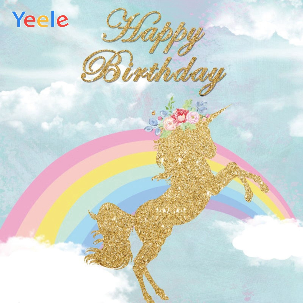 Yeele Sky Cloud Rainbow Golden Unicorn Backdrop Newborn Baby Birthday Party Custom Vinyl Photography Background For Photo Studio in Background from Consumer Electronics
