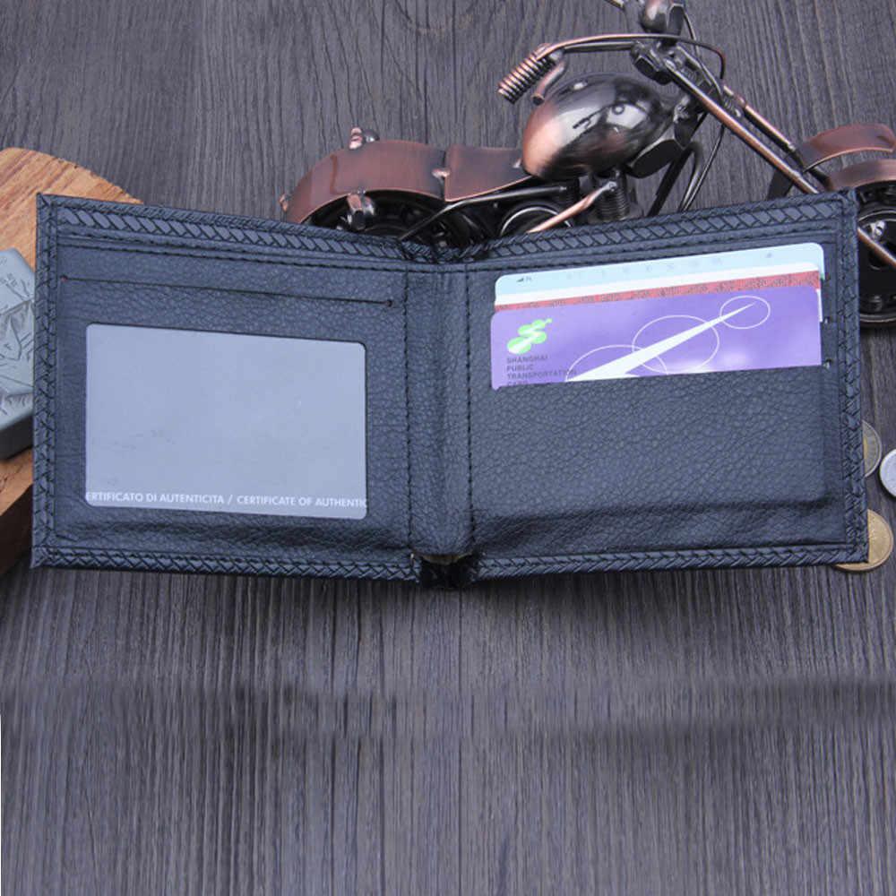Super Slim Lembut Dompet Pria Bifold Bisnis Kulit Kartu Kredit Mini Dompet Dompet Kartu Pemegang Dompet Pria Tipis Kecil Pemegang