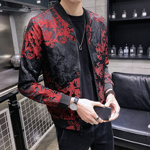 Black Spring Autumn Jacquard Coat Male Bomber Streetwear Clothes 2020 Men's Slim Fit Casual Dress Baseball Jacket(China)