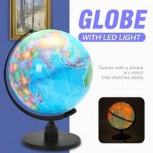 25CM World Globe Map Rotating Stand+ LED Light World Earth Globe Map School Geography Educational Kids Exploring Home Decor