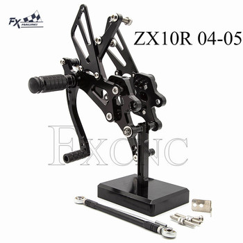CNC Adjustable Rearset For Kawasaki ZX10R ZX-10R ZX 10R 2004-2005 Motorcycle Foot Pegs Rest Footpegs Pedals Rearsets Footrest