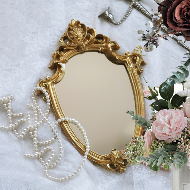 French Luxury Wall Mirror European Style Makeup Mirror Decor Mirror Bathroom Living Room Hanging Mirrors Cosmetic Mirror