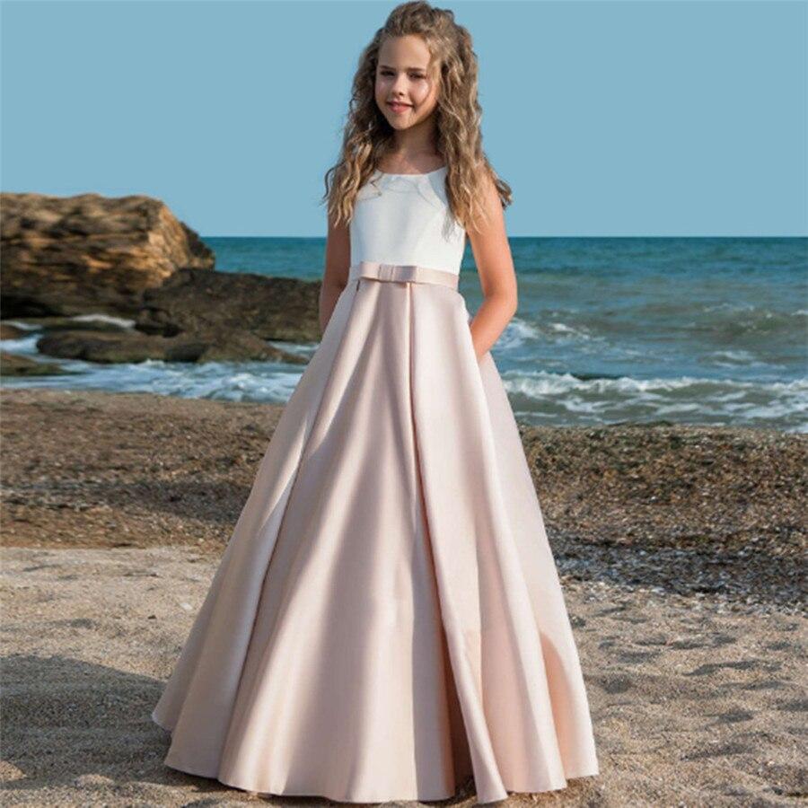 Розовые платья принцессы в пол с цветочным узором для девочек, платья без рукавов с открытой спиной для девочек, платья для первого причасти...
