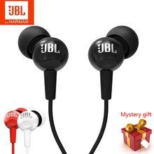Yeni orijinal JBL C100Si 3.5mm kablolu kulaklıklar Stereo derin bas müzik kulaklık spor koşu mikrofonlu kulaklık