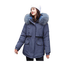 Women Winter Jacket Fur Collar Hooded BIO Down Coat Oversize Cotton padded Parkas Casaco Feminino Mujer(China)