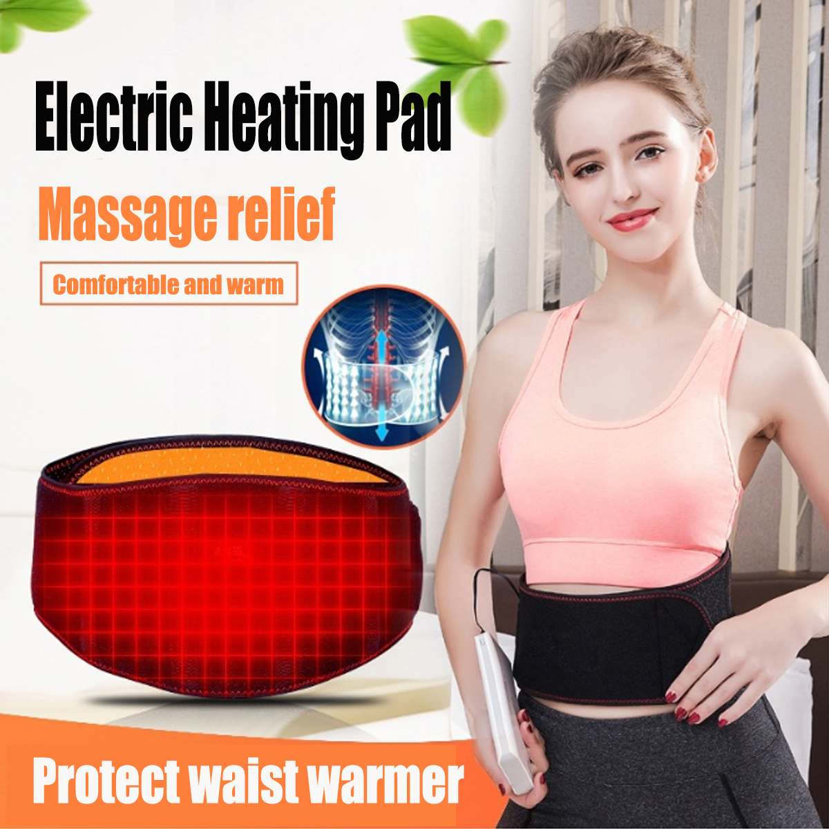 Electric Heating Pad For Abdomen Waist Back Pain Relief Winter Warmer Belt Therapy Hot Massage Compress Muscle Lumbar Brace