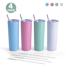 MURRICON 20oz Sublimation Skinny Tumbler (4 pack) Stainless Steel Double Wall Insulated Tumbler Cup travel coffee mug for gift