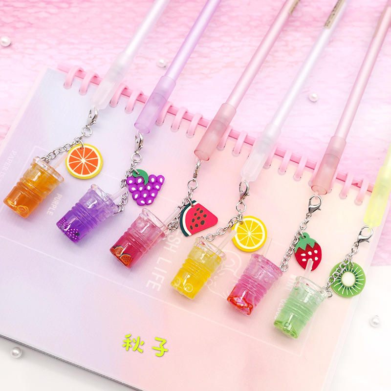 1Pcs Creative Cute Iced Fruit Juice Pendant Gel Pen Pendant Pen Small Fresh Fruit Signature Pen Stationery School Office Gift