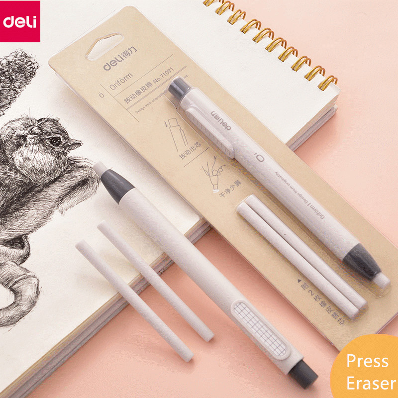 Free Shipping Deli Press Eraser Pencil Type Retractable Artist Drawing Sketch Rubber School Supplies Stationery 71091 Round Tip