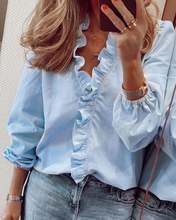 Женская блузка с оборками топы буквенным принтом ананаса v образный