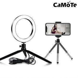 Ring-Lamp Selfie-Light 4-In-1 Video-Holder Usb-Plug-Tripod Dimmable LED Youtube Desktop