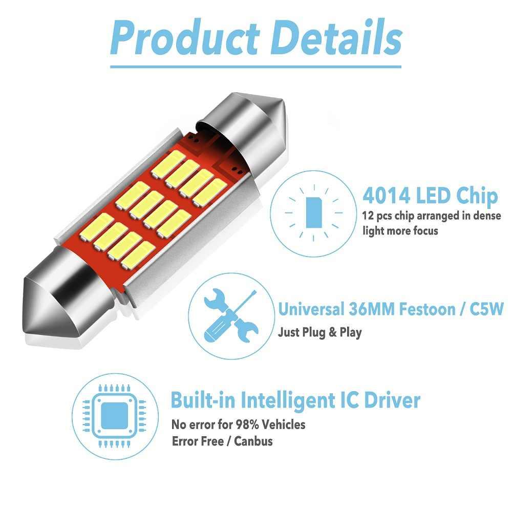 2X C5W C10W CANBUS Kesalahan Gratis Mobil Memperhiasi Lampu LED Lampu Interior untuk Hyundai Tucson IX35 IX25 Santa Fe Sonata 9 2015 2016 2017
