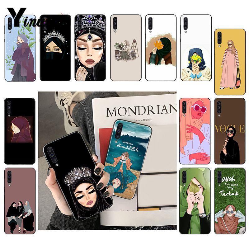 Cartoon Hijab Aesthetic Muslim Girl Ilham Malah Phone Case For Samsung Galaxy A7 A50 A70 A40 A20 A30 A8 A6 A8 Plus A9