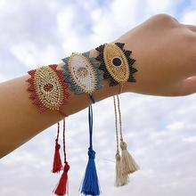 Fashion Colorful Beads Weave Exaggerations eyes Tassel Adjustable bracelets For