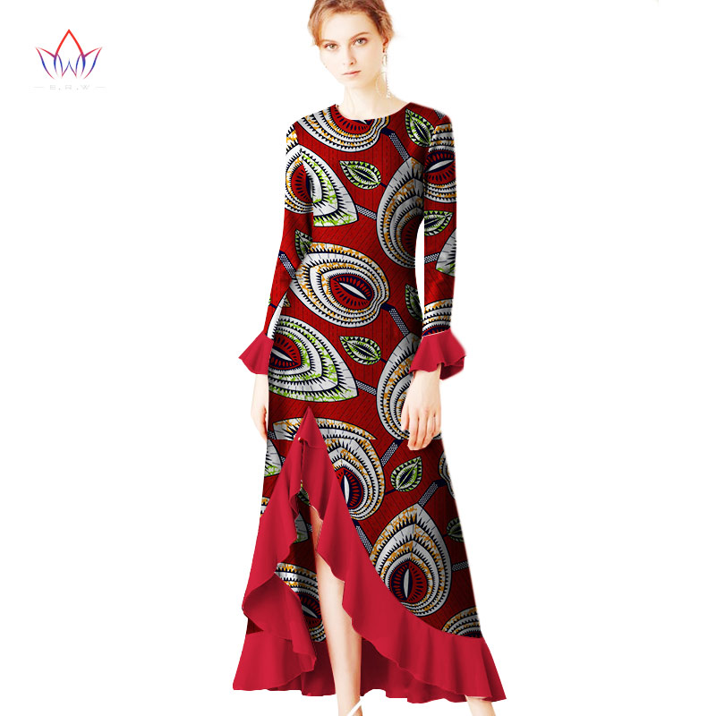 2019 Autumn Robe Africaine Femme Dashiki O-neck Dresses Ruffles Plus Size 5XL African Traditional Long Dresses Print 6xl  WY2344