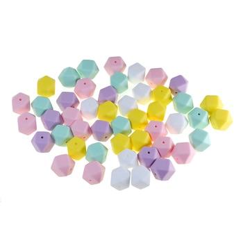 цена на 100pcs 17mm Hexagon Silicone Beads DIY Teething Pacifier Chain Clip Dental Care Chew Food Grade Bead Baby Teethers