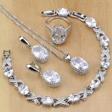 ナチュラル 925 スターリングシルバージュエリーczジュエリーセット女性のためのイヤリングペンダントネックレス指輪ブレスレット無料のギフトボックス